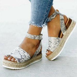 Snake Skin Print Espadrilles Sandals